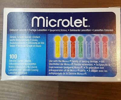 Microlet Coloured Lancets - Box 100 - Brand new & Sealed use-by 12/2021