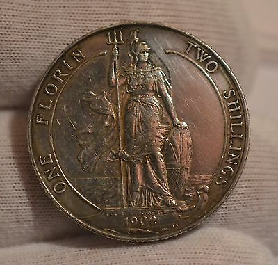 1902 King Edward VII SILVER Florin / Two Shillings   EF