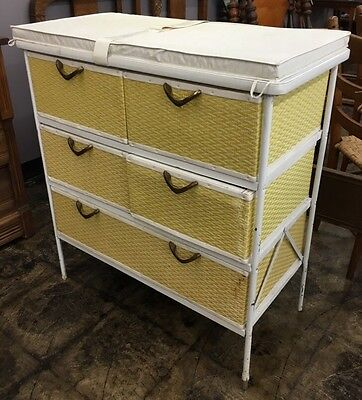 Mid Century Yellow & White Wicker Baby Changing Table W/Drawers Nursery