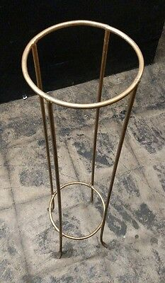 "Vintage Gold Tone Potted Plant Stand 40"" Tall 9"" Diam"