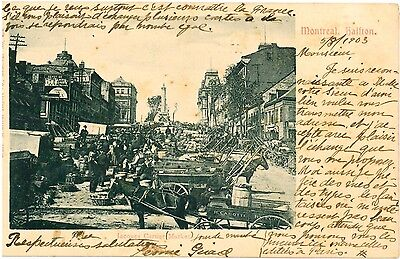 CANADA Montreal Jacques Cartier Market Horse and Carts Vintage PC 1903