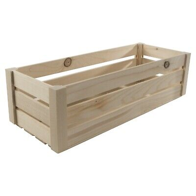Plain Wooden Slatted Fruit 40cm Long Crates Containers/ Apple Storage Crate Box