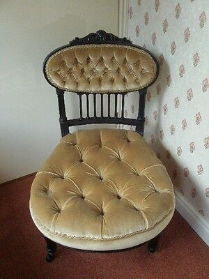 Antique   Victorian   Upholstered  Nursing   Chair
