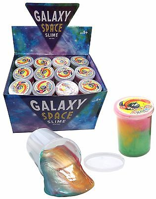 Bulk Lot 24 Tubs Galaxy Slime Kids Multi Coloured New Large 6cm x 4cm Size