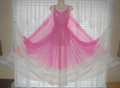 Vtg Pink Miss Elaine Fullest Sweep Sheer Chiffon Nightgown Gown Negligee 1 SIZE