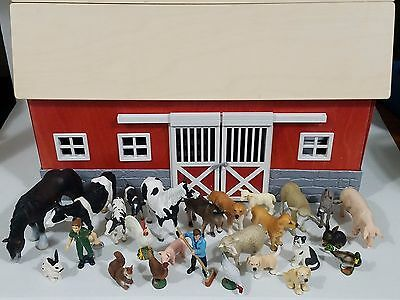 Schleich Red Barn Stable 42028 + 26 animals horse cow rabbit chicken pig sheep