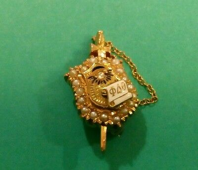 The  Vintage 14K Gold Sorority Pin With Diamond & Pearls . Total Weight 5 Gr.