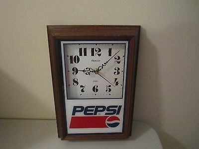 Pepsi Cola Vintage Hanover Wood Framed Wall Clock Nice Condition Works Pepsi