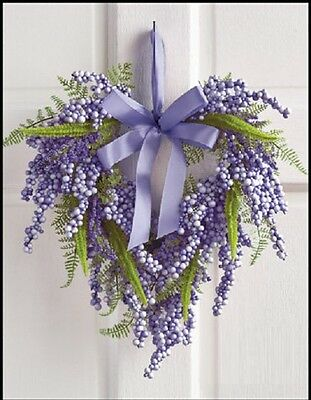 Easter or Spring Heart Wreath with Bow Lilac
