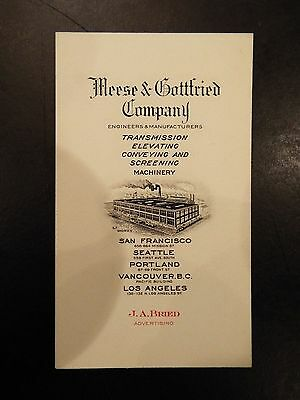Meese & Gottfried Company Engineers & Manufacturers Vintage Business Card