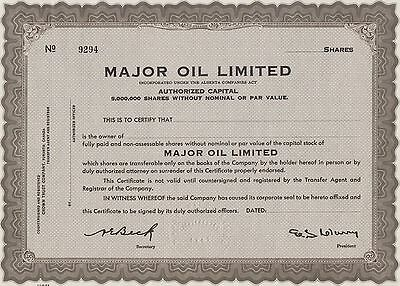 The Major Oil Lim. Share Certificate   Bab Note 1940-1960