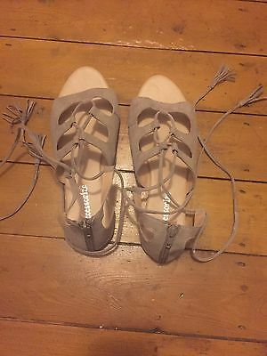 New Accessorize Taupe Flat Sandals Zip & Ankle Straps With Tassels UK 7