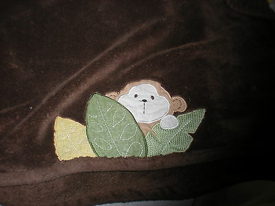 Tiddliwinks Monkey Brown Lovey Blanket Baby Green Leaves Soft Cute