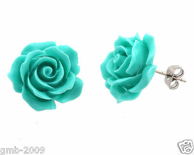 Fashion Jewelry Turquoise Blue Rose Flower 925 Sterling Silver Stud Earrings