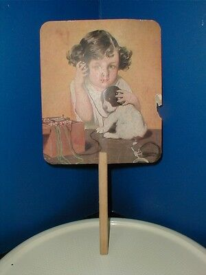 "Old Ins. Advertising Paper Fan - Girl W/puppy ""listening To Crystal Set Radio"""