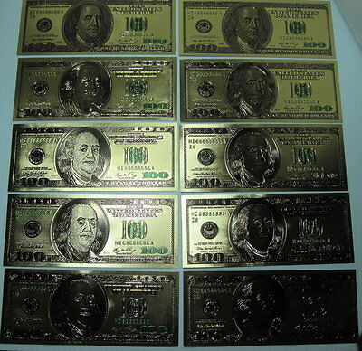 GOLD US $100 Bill's (10) OLD Style 24 Kt Gold Foil SALE! Fun HOT Gift! FREE SHIP