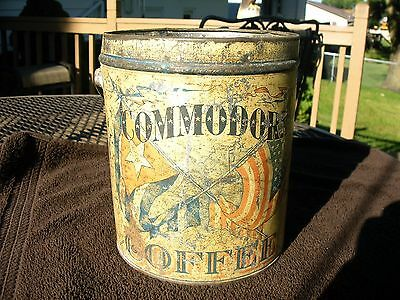 Commodore Tin Coffee Can Chicago Illinois American Flag Patriotic
