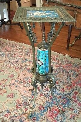 Antique French Bronze Parlor Stand W Longwy Porcelain Tile Top & Center