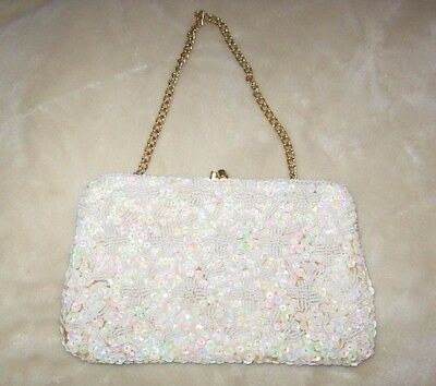 Antique White Evening Bag/clutch Handmade In Hong King