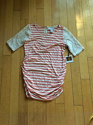 Jessica Simpson Maternity Shirt Top Pink Striped Lace Sleeves Medium New Nwt 🍦