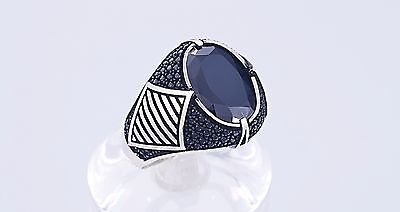 Turkish Handmade Oriental 925K Sterling Silver Man's Ring Onyx