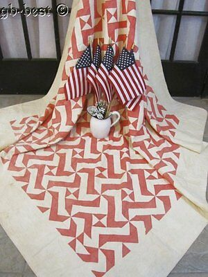 The Patriot Collection! c 1890 Red Pinwheel Antique Quilt 84 x 74   BUSY PATTERN