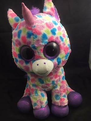 """Justice Exclusive TY Beanie Boo Wishful  17"""" Extra LARGE  plush Unicorn"""