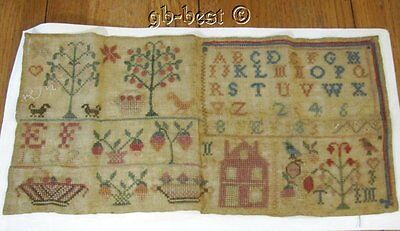 Early 1837 Pictorial Antique Sampler BIRDS House Trees Fruit Pennsylvania