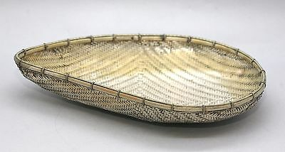Superb Quality Antique Thai Sterling Silver Weaved Rice Basket