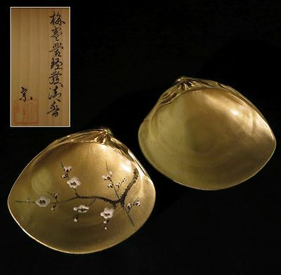 Japanese Traditional lacquer Kogo Kai awase Real Natural Seashell Incense Case g