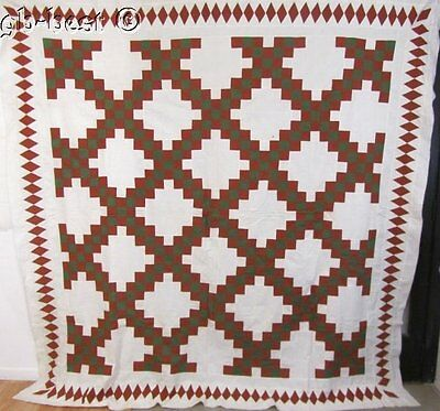 "CIVIL WAR c 1850/60s Irish Chain Antique QUILT Top 97"" x 95"" MASSIVE"