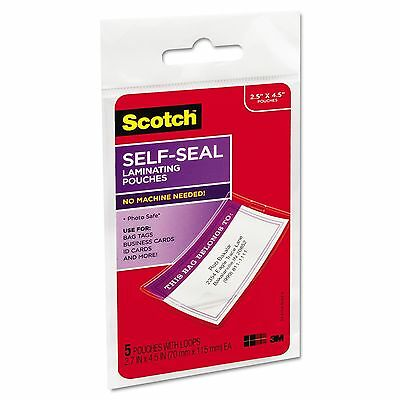 Scotch Clear Self-Seal Laminating Pouches 2.8x4.5 Business Card ID Bag Tag 12.5m