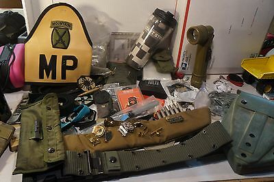 Large Lot Of US Military Issue Gear Badges Buttons Shovel Flat Rate Box Full