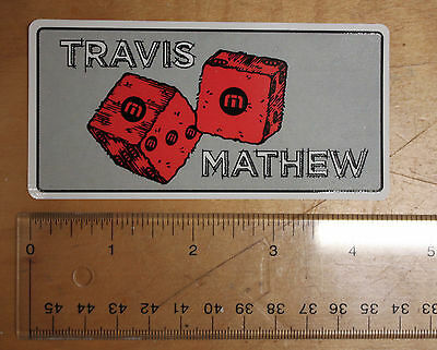 "NEW Travis Mathew ROLL THE DICE - Red Gray Black White 4.5"" Rectangle STICKER"
