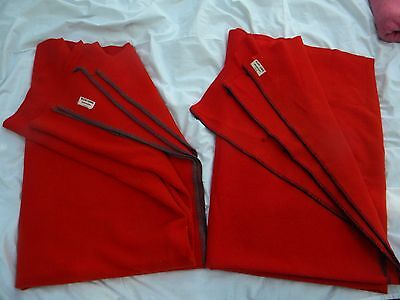 2 Vtg 1952 Scarlet Red Pure Wool Camp Blankets from Regent of Canada