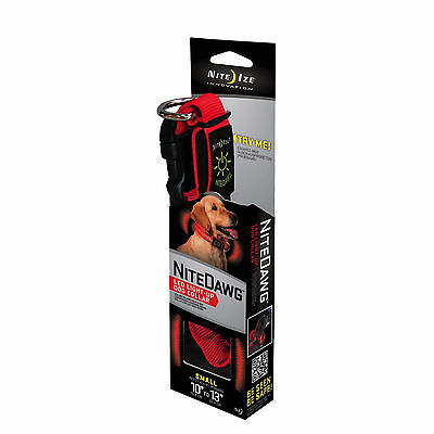 Nite Ize Nite Dawg LED Dog Collar Red Small Glow & Flash Modes Safety Light