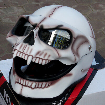 Motorcycle Helmet Skull Skeleton Death Ghost Rider Full face Visor Ghost