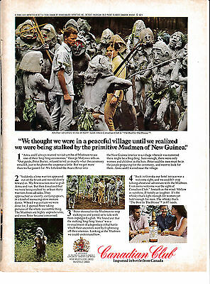 1971 Canadian Club Mudmen of New Guinea-The Sing Sing Dance-Original Magazine Ad