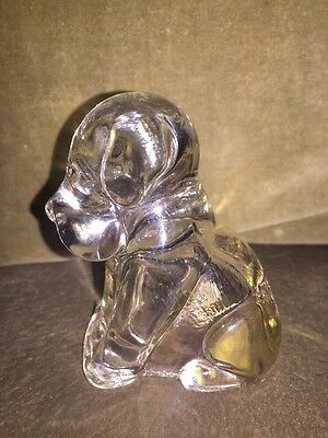 Vintage 1950'S Pressed Clear Glass Dog Candy Container Figurine