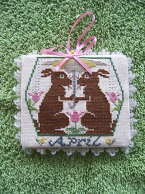 "Prairie Schooler ""April"" Ornament, rabbit,tulips,finished completed cross stitch"