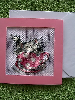 """Margaret Sherry """"Teacup Kitty"""" Completed Finished Cross Stitch Card"""