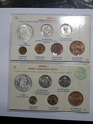 2 Mexico Modern Unc Type Mint Set Peso 50 Centavos Old World Coin Collection Lot