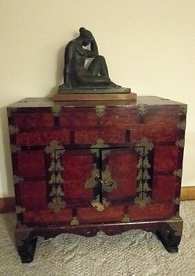Vintage Chinese Asian wood storage Campaign style chest on frame brass lock