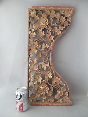 Antique Chinese Flowers Gold Gilt Hand Carved Wood Salvage Panel Plaque Pediment