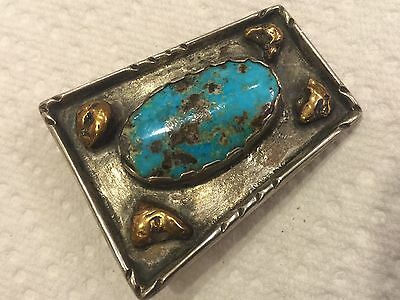 Vintage Old Pawn Sterling Silver Turquoise Belt Buckle with Gold Nuggets Signed
