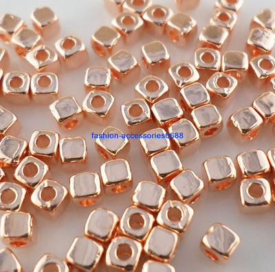 160/1500pcs Rose Gold Smooth Square Cube Spacer Beads Jewelry Beading 3mm