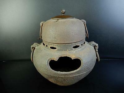 E9367: Japanese Old Iron Orange peel TEAKETTLE Teapot Chagama w/copper lid