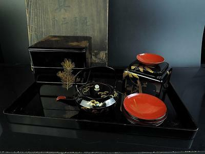 E7155: Japanese Wooden Lacquer ware Otoso, SAKE KETTLE & CUP