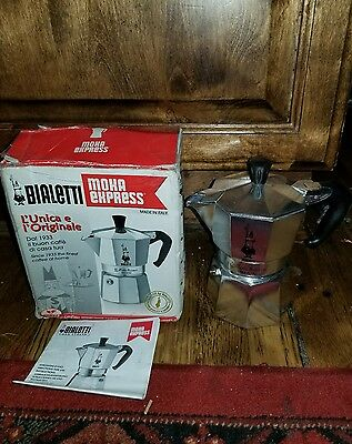 Bialetti Moka Express Made in Italy 3 Cup Stovetop Espresso Maker in box
