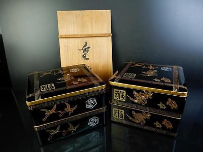 E9351: Japanese Wooden Lacquer ware FOOD BOXES Jubako Lunch Box